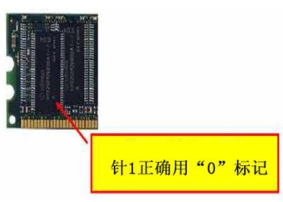 """""""o""""符号表示记忆芯片的第一个引脚的位置"""