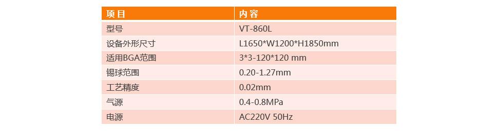 全自动BGA植球机VT-860L参数